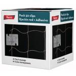 50 clips + adhesivo para fijación de redes