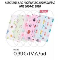 Mascarillas para niños y niñas 3 capas