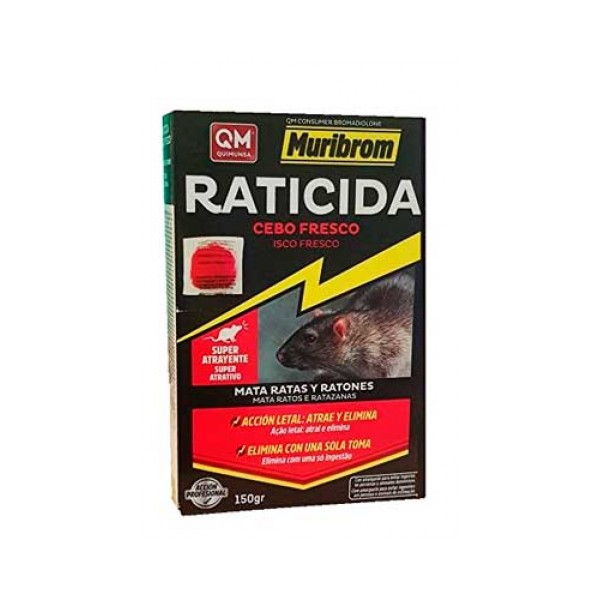 Raticida Cebo Fresco 150 gr con Bromadiolona